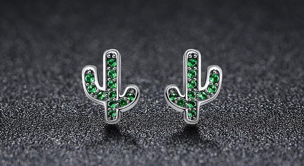 2 Color SALE 925 Sterling Silver Dazzling Plant Cactus Stud Earrings For Women & Girls Sterling-Silver-Jewelry