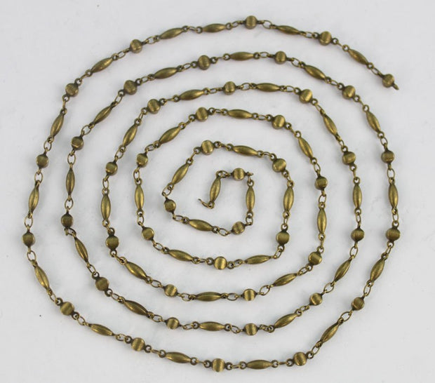 1 Meter of Antiqued bronze stick and ball link handmade chain #22909