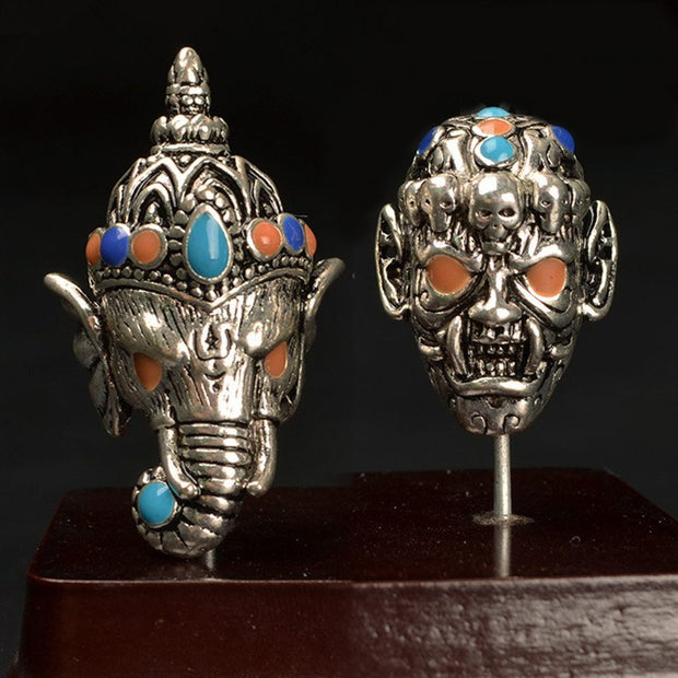 2 PCS Vintage Metal Alloy Skull Elephant Beads Drops Of Glaze Buddha Beads For Jewelry Making