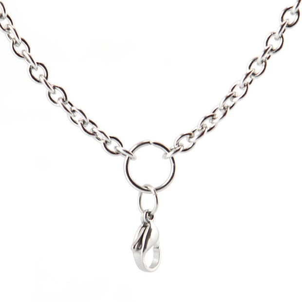 "20"" 24 "" 28"" Stainless Steel 1.0mm 3.6mm Flat Cable O Jumpring Chain Necklace For Living Glass Lockets & Oil Diffuser Locket"