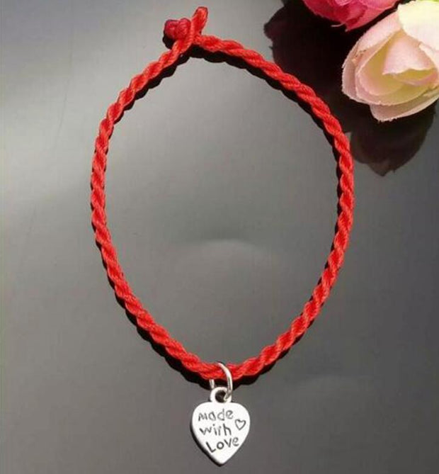 20 Pc Fashion Kabbalah Made With Love Heart Lucky Red String Bracelet Bangles Handmade Braided For Men Women Protection Jewelry