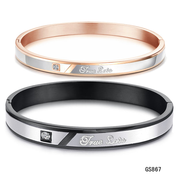 2015 New Woman Fashion Crystal Couple Bangles 316L Stainless Steel Titanium Jewelry Birthday Gift Free Shipping Never Fade