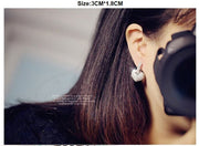 2015 Better New FASHION Clear Hoop Heart Cubic Zirconia Stud Earrings For Women JP25