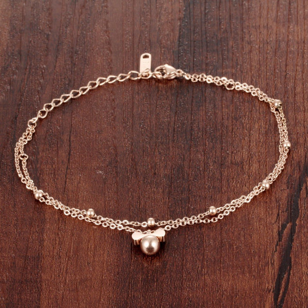 2016 New Summer Style Cute Bowknot Anklet Woman Jewelry Titanium Steel Rose Gold Color Birthday Gift Free Shipping Never Fade
