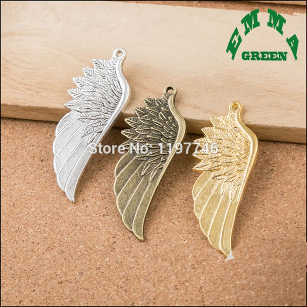 2017 Mini Order Metal Zinc Alloy Charms Vintage Gold Silver Or Bronze Tone Bird Eagle Angel Wing Charms DIY Jewelry Accessories
