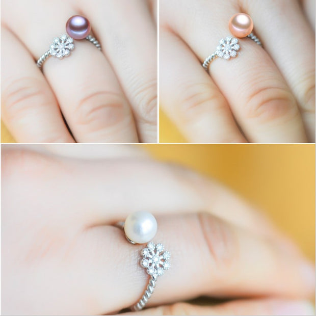 2017 NEW Fashion Pearl Ring Snowflake Freshwater Pearl Ring Wedding Rings 925 Sterling Silver Jewelry Rings For Women Gift