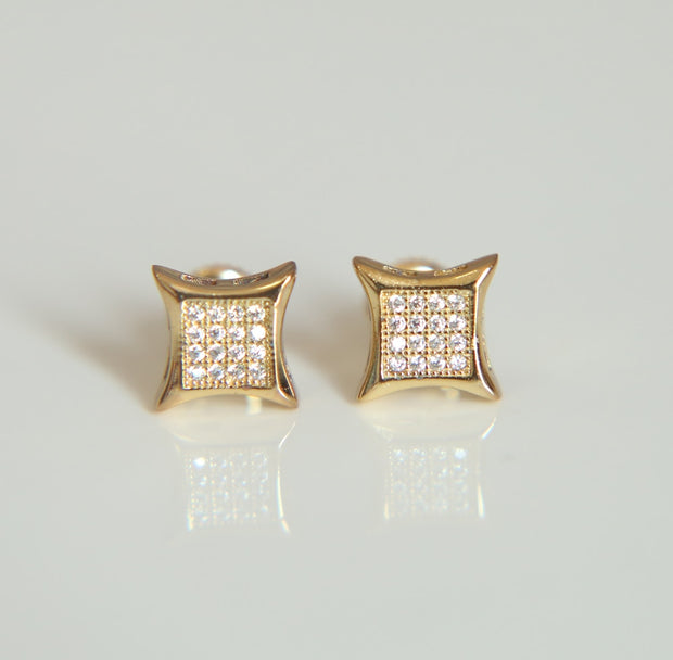 2017 Factory Wholesale Black Gold Silver Gold 3 Colors Square Shape Real Micro Pave AAA Cz Screwback Earring Promotion