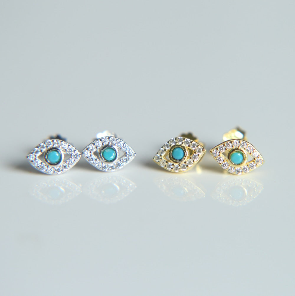 NEW 925 Silver Blue Clear Cubic Zircon Crystal Stud Earrings for Women Authentic