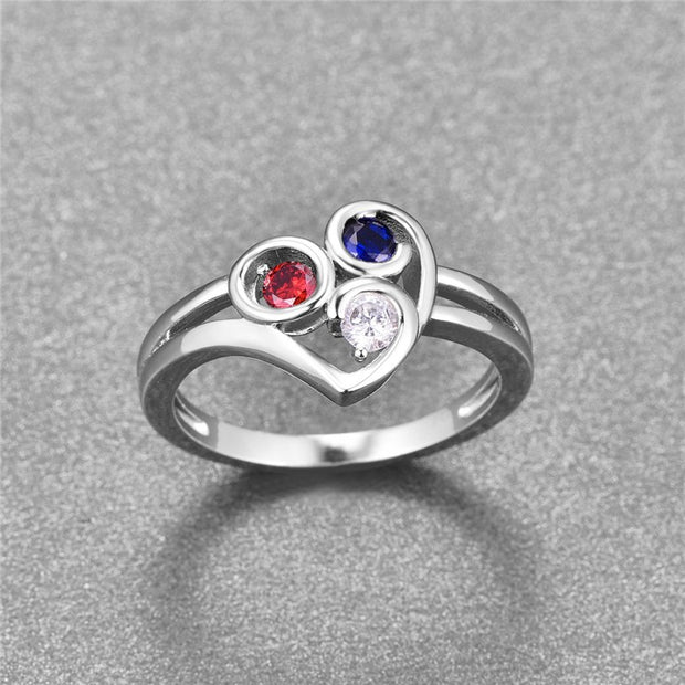 2018 Luxury 925 Sterling Silver Ring Multicolor & Red White Blue CZ Crystal Romantic Finger Ring For Women Wedding Jewelry Bague