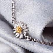 2018 New Authentic 925 Sterling Silver Bracelet Daisy Bloom Adjustable Golden Bracelets & Bangles For Women Fine Jewelry