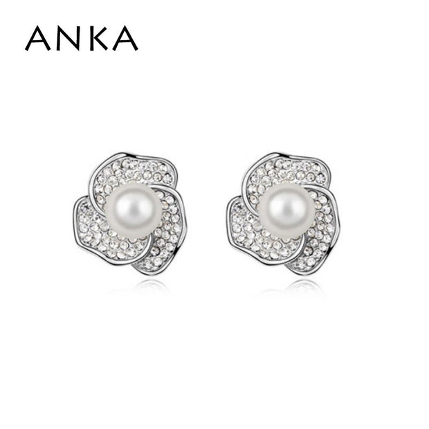 2018 New Fashion Simulated-pearl Flower Crystals From Austria Stud Earrings Rhodium Plated Earrings For Women #95369
