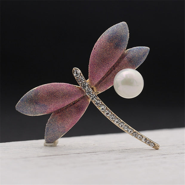 2018 New Fashion Summer Jewelry Accessories Brooch For Girl Vintage Lovely Dragonfly Pearl L Scarf Lapel Pin Brooches For Women