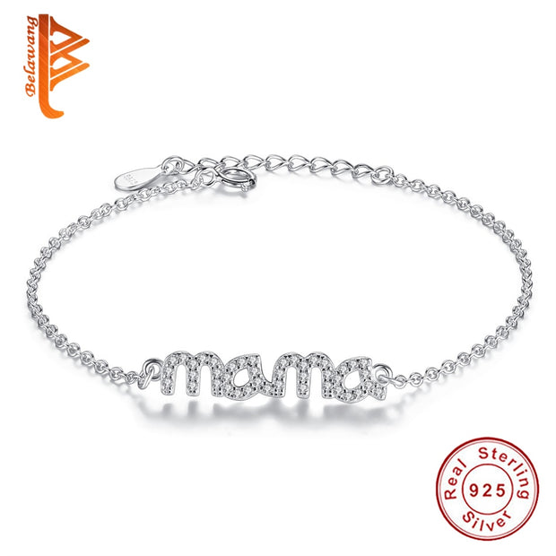 2018 Simple Design 925 Sterling Silver Mama Love Femme Bracelets Bangle Classic Bracelet Jewelry For Women Mother's Day Gift