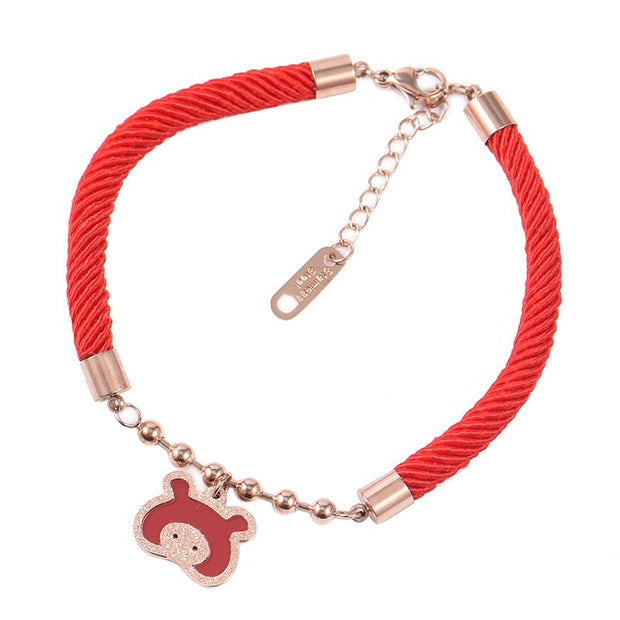 2018 Women Red Rope Bracelet Cute Girl Lucky Trendy Lover Bracelet With Black Stone Hollow Bangles Dropshipped Worldside Jewelry
