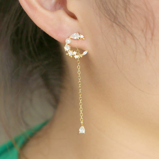 2019 Fashion Delicate Design Bride Earring Moon Shape Dangle Hain AAA CZ Tear Drop Earrings Women Top Quality CZ Wedding Jewelry