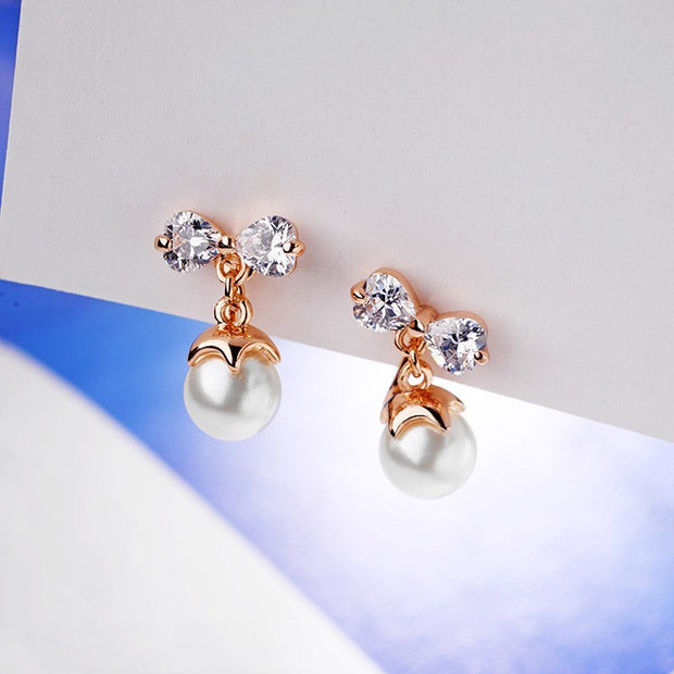 2019 Fashion Temperament Wild Zircon Pearl Earless Ear Clip Female Crystal From Swarovski Earrings 2 Colors For Women As Gifts