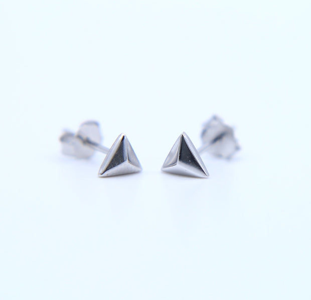 2019 Geometric Real 925 Sterling Silver Triangle Earrings Rose Gold Color 6mm Tiny Mini Studs Little Girls Women Wedding Jewelry