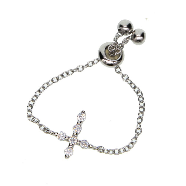 2019 High Quality 925 Sterling Silver Cute Delicate Faith Cross Women Jewelry Pave Tiny CZ Dainty Adjust Chain Girl Fashion Ring