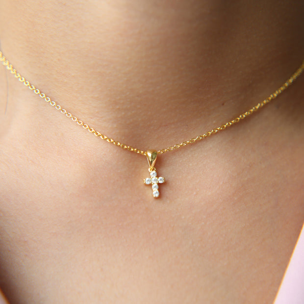 2019 High Quality 925 Sterling Silver Pave AAA Cz Tiny Cute Cross Pendant Necklaces For Woman Mini Charm Pendants Bijoux Jewelry
