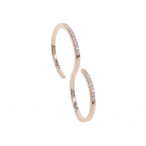 2019 High Quality Rose Gold Cubic Zirconia CZ Rings For Women Curve S Type Trendy Fashion Double Finger Rings Jewelry Bijouterie