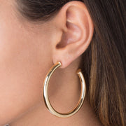 2019 New Earings Brincos Big Silver Color High Polished Simple Fashion Jewelry Round Circle Piece Shinny Women Girl Hoop Earring