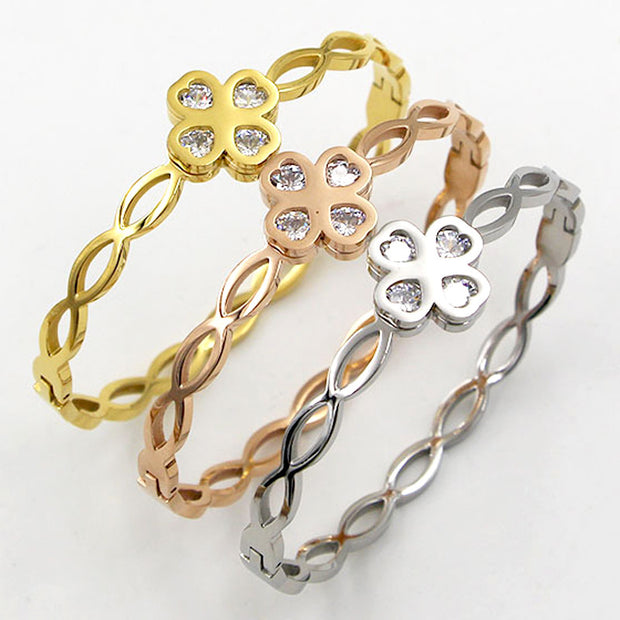 2019 New Gold Punk Clover Bracelets & Bangles Trendy Heart Crystal Stone Cuff Bracelet For Women Fashion Jewelry