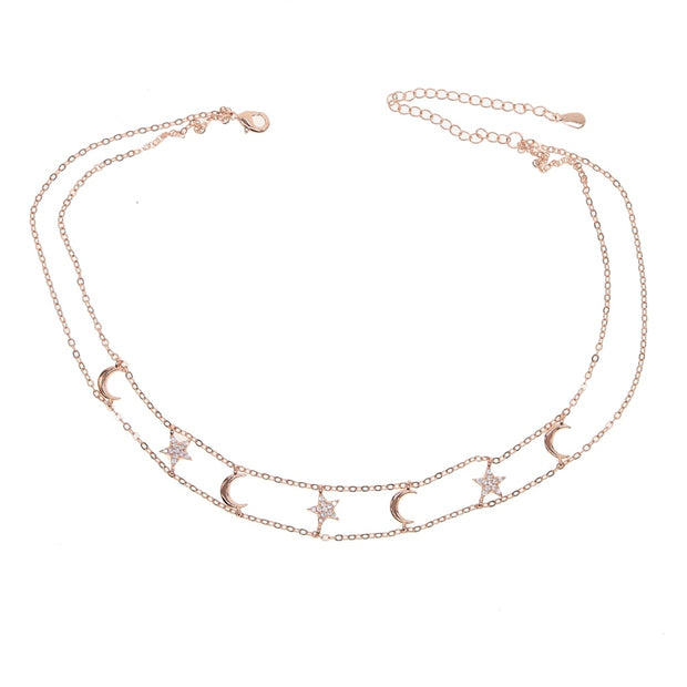 2019 New Cz Moon Star Charm Necklace Gold Rose Silver Color Choker Double Chain Delicate Sparking Cz Moon Star Pendant Necklace
