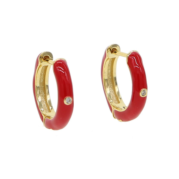 2019 New Fashion Luxury Gold Color Chinese Style Pave Shiny Tiny Crystal CZ Red Enamel Earring For Women Girl Party Jewelry Gift