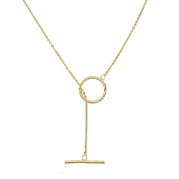 2019 New Fashion Jewelry Simple Round Circle Bar Charm Gold Filled Chain Pendants Unique Women Girls Lariat Delicate Y Necklaces