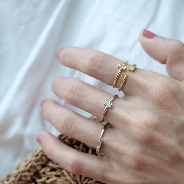 2019 New Women Jewelry Wholesale Filled Square Triangle Rectange Geometric Shape Thin Band Promotion Stackable Gold Color Rings