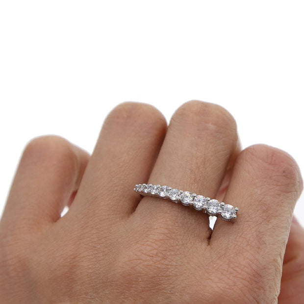 2019 Top Quality Fashion Micro Pave Full Shining AAA Cubic Zirconia Sliver Color Letter Finger Rings Women Girl Delicate Jewelry