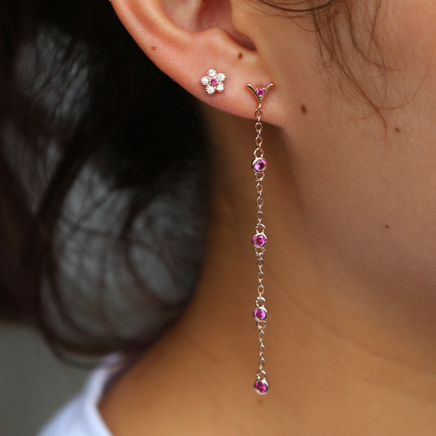 2019 Top Quality Rose Gold Tassel Line Earring Pave Full Shiny Cz Flower Snowflake Earring Women Girls Fashion Delicate Jewelry