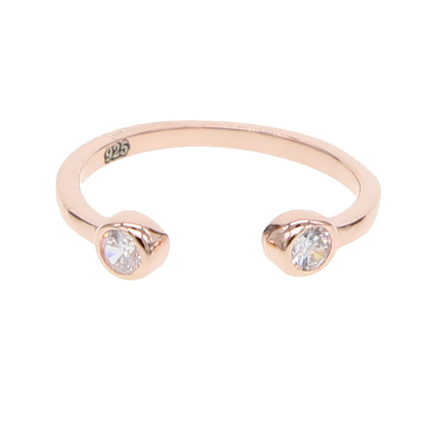 2019 Simple Delicate Jewelry Rings Gold Filled Two White Opal Open Adjust Young Girl Minimalist Gold Color Skinny Thin Midi Ring