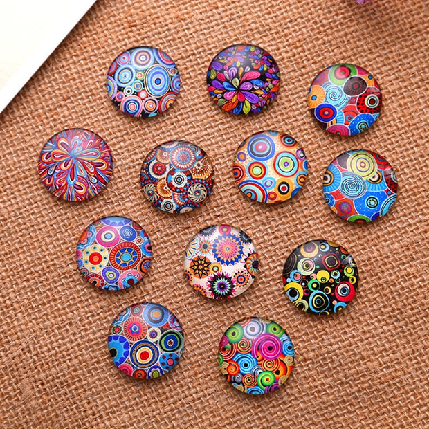 20Pcs Mixed Colourful Round Geometric Patterns Cercle Patterns Glass Cabochons Dome Seals Crafts Jewelry Making Accessories 25mm