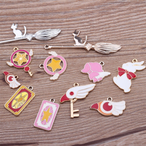 20Pcs/lot Fashion Enamel Drop Oil Cardcaptor Sakura Dangle Charms Necklace Pendant DIY Charm Pendant Jewellery