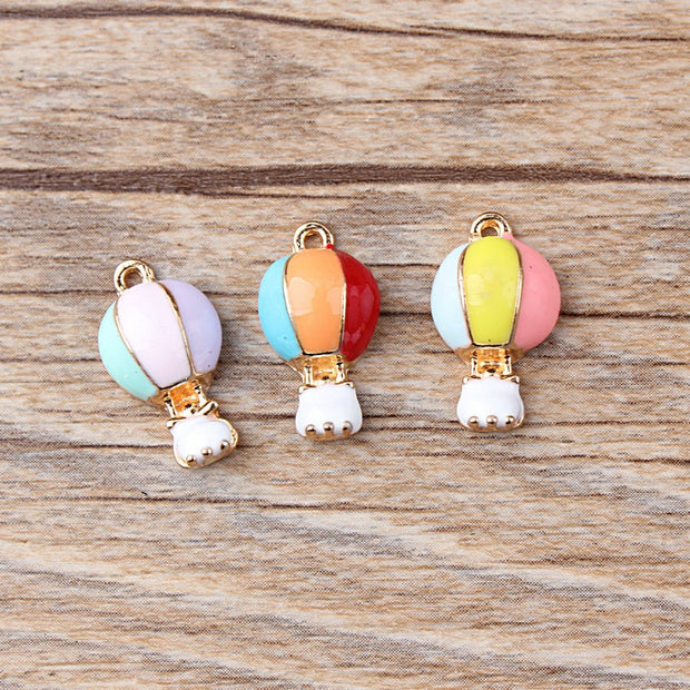 20Pcs/lot Hot Air Balloon Dangle Charms Enamel Pendant For Necklaces Bracelets DIY Female Fashion Jewelry Earring Decoration