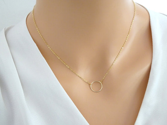 20mm Big Circle Pendant Necklace Simple Design Gold Silver Color 925 Sterling Silver Necklaces Jewelry For Women