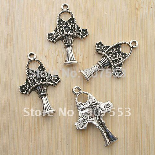 20pcs 27x17mm Antiqued Silver Flowers Charms G346