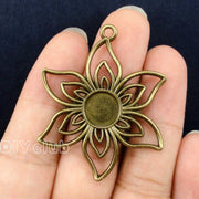 20pcs--Antique Bronze Flower Cameo Cabochon Base Setting, Inner 11mm