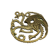 20pcs-Antique Silver / Bronze / Gold Dragon Charms Pendant 2 Sided 36x32mm