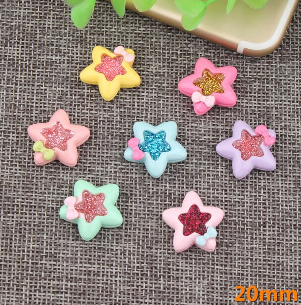 20pcs Five-pointed Star Flat Back Resin Flatback Scrapbooking Accessories Decorative Craft For Hairbow DIY Jewelry Making
