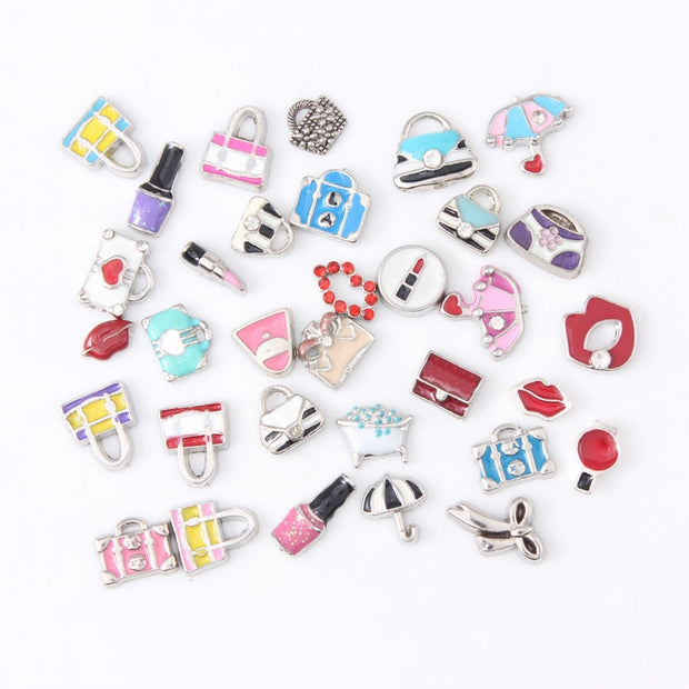 20pcs Many Styles Floating Charms For Jewelry Making Enamel Charms For Living Locket Floating Locket DIY Jewelry