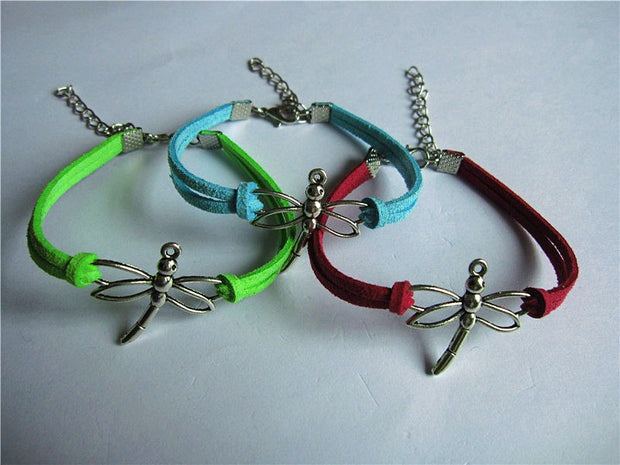 20pcs/lot Color Mixing Elephant Dragonfly Animal Bangle Rudder The Hungry Bird Hand Chain Infinity Leather Bracelets
