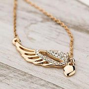 24 Pieces Fashion Women's New Charm Jewelry Angel Wings Love Heart Pendant Chain Necklace