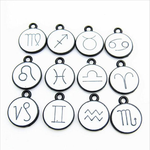 24pcs/lot New Arrivals White Enamel 12 Constellation Dangle Charms Pendant For DIY Jewelry