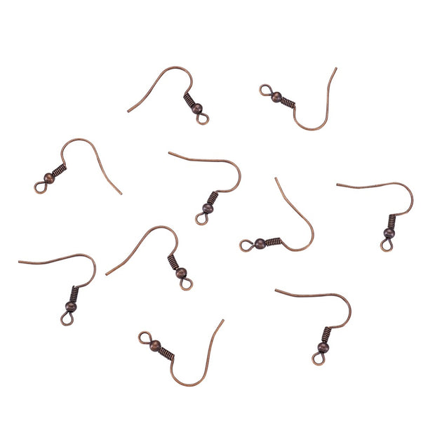 250pcs Earring Jewelry Findings Red Copper Iron Earring DIY Hooks, Nickel Free, Size: About 18mm Long, 0.8mm Thick, Hole: 3mm