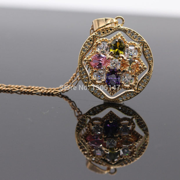 25X25mm Hollow Out 10kt Gold Filled Austrian Crystal Flower Pendant Necklace 4 Colors F03-1