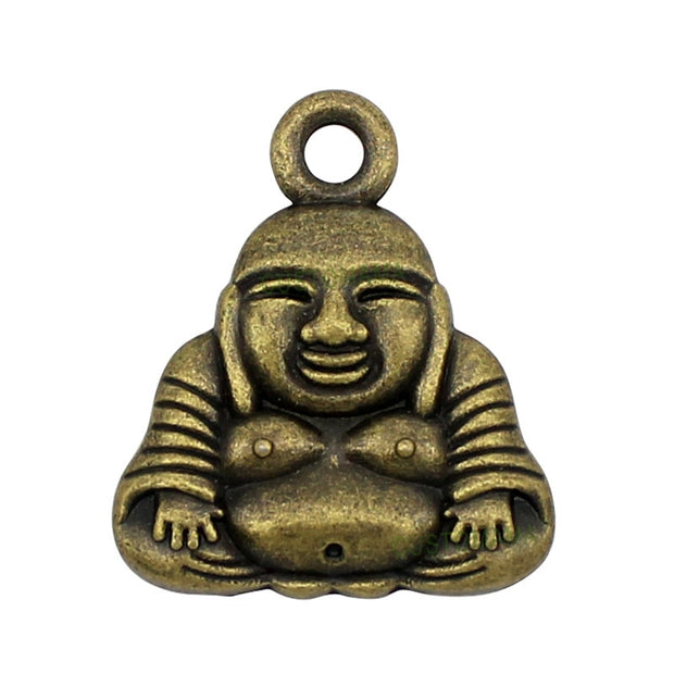 25pcs-Antique Bronze 2 Sided Buddha Charms Pendants 26x22mm