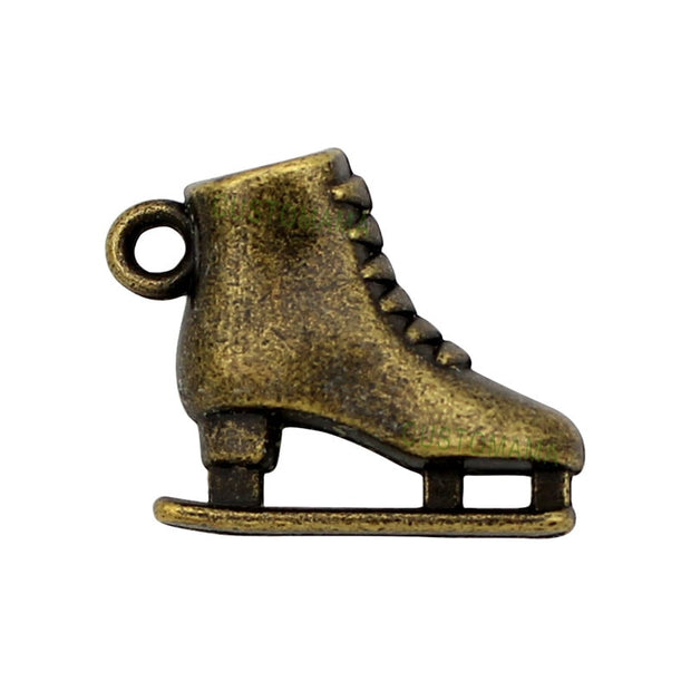 25pcs-Antique Bronze 3D Roller Skates Charm Pendant, Ice Skate Charms 20x17X6mm
