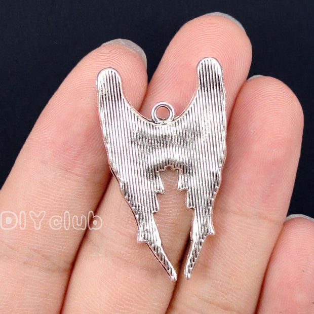 25pcs-Antique Silver Angel Wing Charms Pendant, Jewelry Making 39x23mm